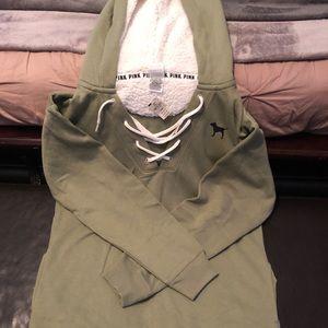 Olive Sherpa Hoodie